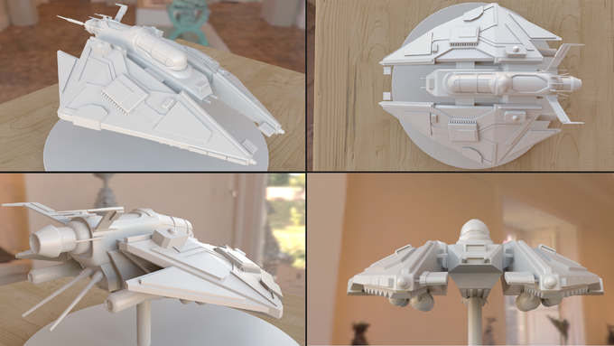 Intended final design of one 3D-printed single player ship