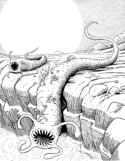 The death orms: massive worms of the arid wastelands, whose death mother hides great secrets at the bottom of a vast pit.