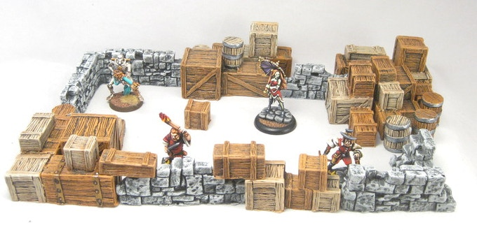 Broken stone walls and wooden crates create a makeshift fortification.