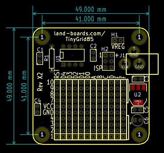 TinyGrid85 Board Dimensions