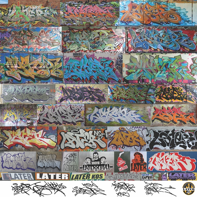 Later - Each artist page contains examples of that artists work from tags and stickers to more complex pieces.