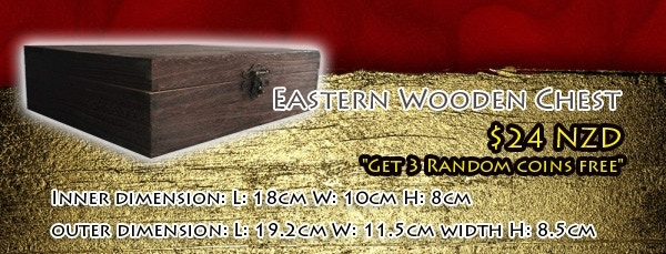 Wooden Chest + 3 Random Coins, no additional shipping is required
