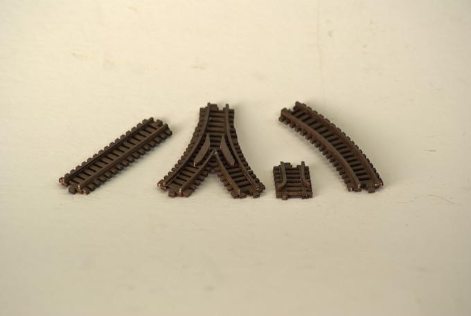 Various train track parts