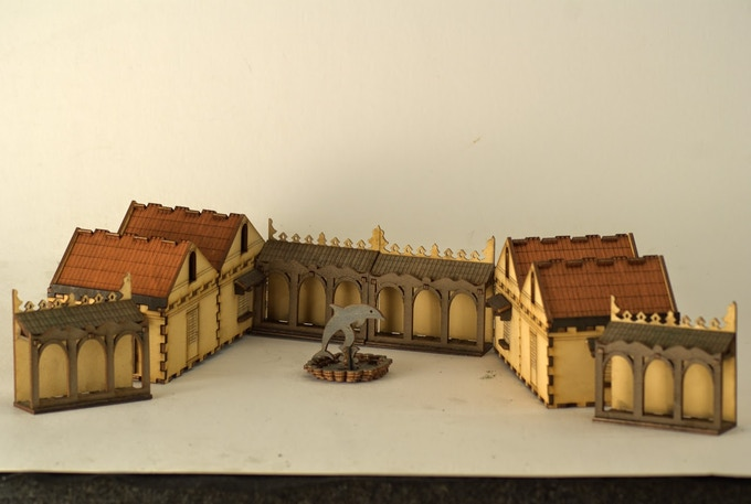 The Spanish Villa (walls removed to show courtyard)