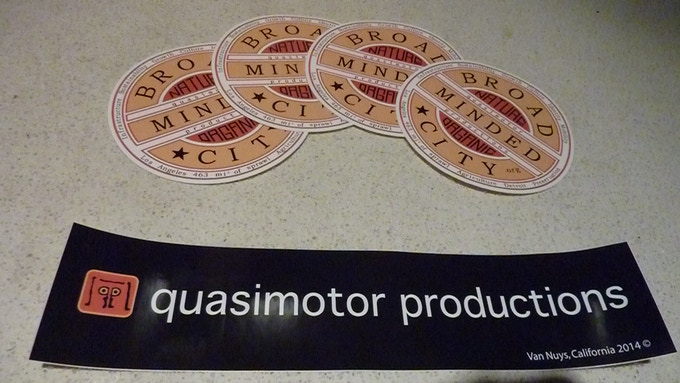 Broad Minded City decal and Quasimotor Productions bumper stickers