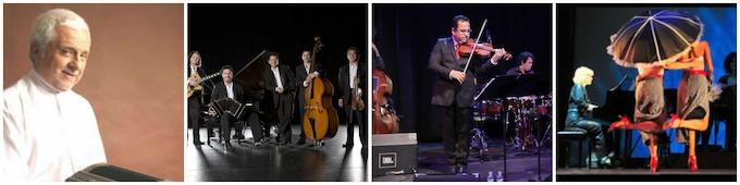 The Musicians from Left to Right: Daniel Binelli, Quintento Tango Leopoldo Federico, Eddy Marcano, GlamourTango
