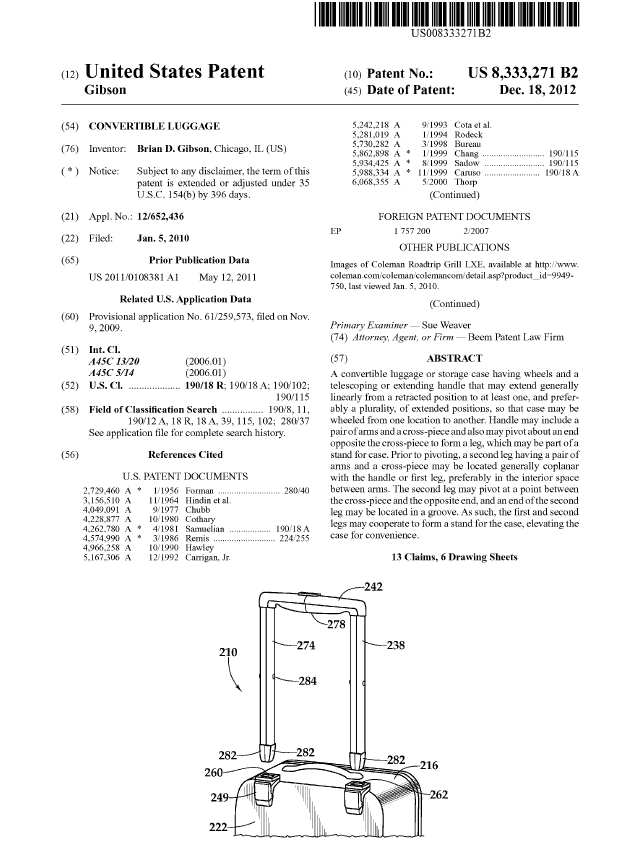 Utility Patent Issued December, 2012