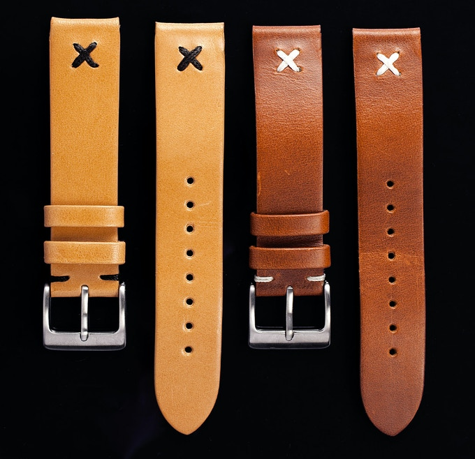 Standard watch straps in Cognac and Natural London Bridle.