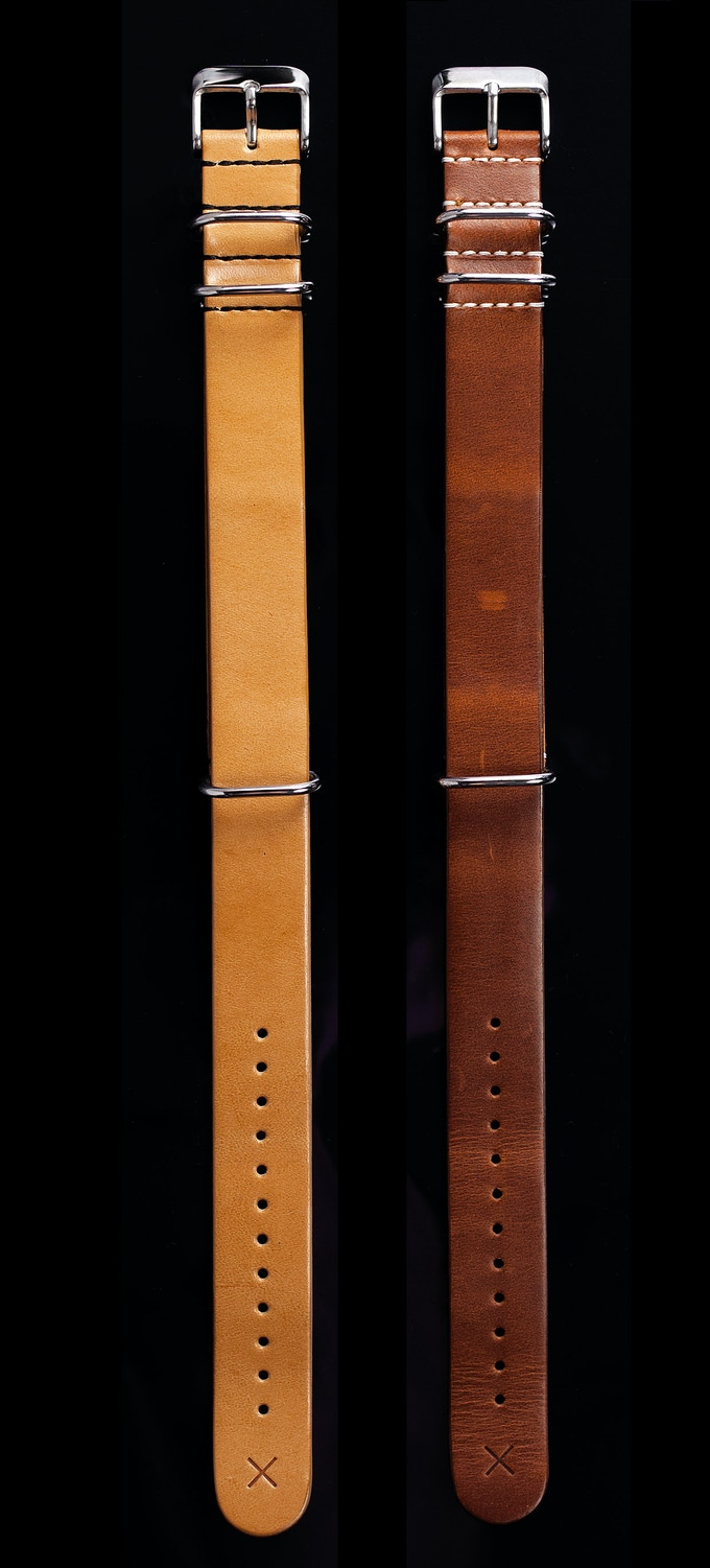 NATO watch straps in Cognac and Natural London Bridle.