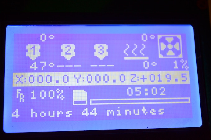 Cobblebot LCD (Time shows the length of a print that just finished - Top numbers 2 & 3 will show temp. for additional hotends when upgraded with them)