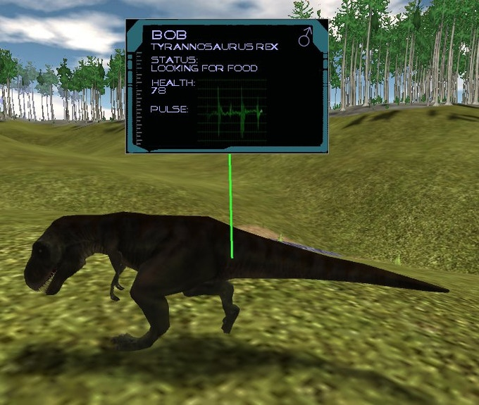 Data display includes animated heart rate. Click on image to go to Dinosaur-Island.com.