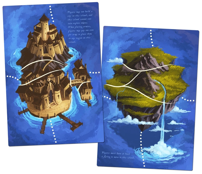 2 double-sided expansion boards for Eight-Minute Empire: Legends.