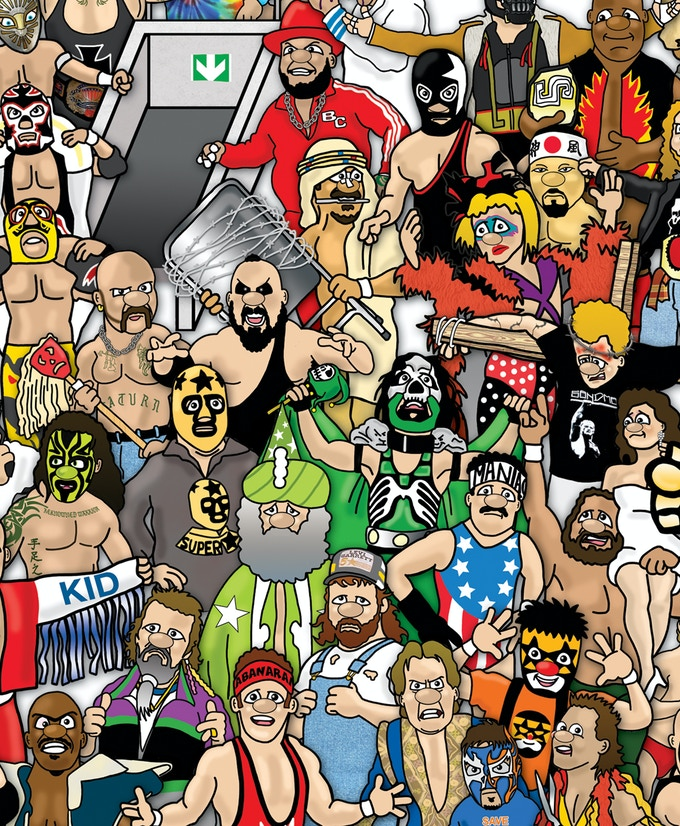 A close-up of a section of Wrestling Mishmash (July 2014)