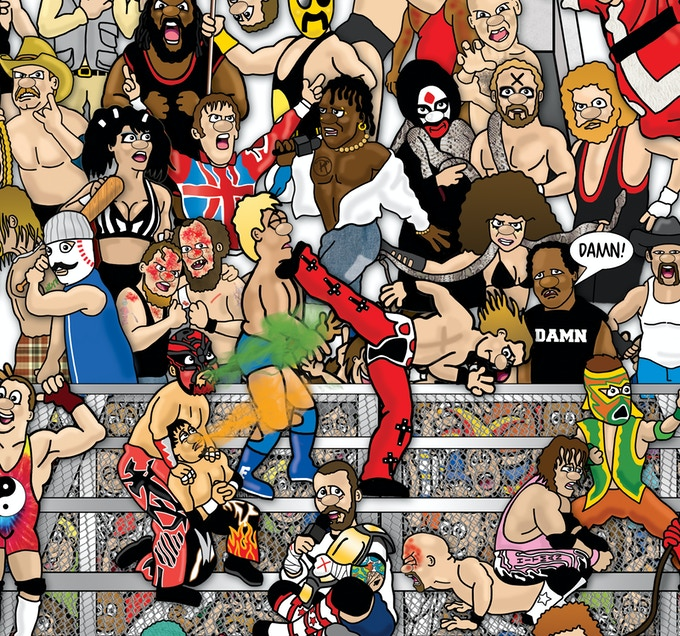 A section of the cage in Wrestling Mishmash.