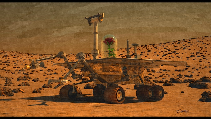 The Rose Lander/Rover testing conditions for Earth plant life on Mars.