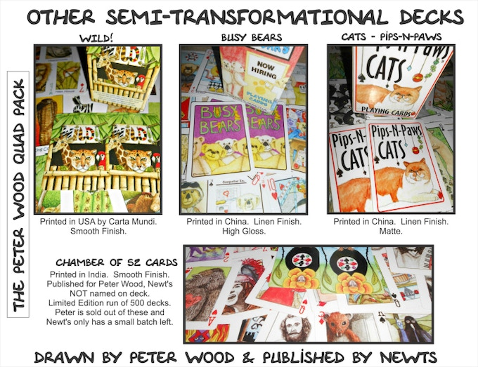 Other decks of cards drawn by Peter Wood and published by Newt's Games & Puzzles.