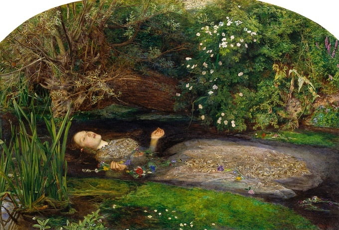 Ophelia 1851-2 Sir John Everett Millais, http://www.tate.org.uk/art/work/N01506 Photo (c) Tate