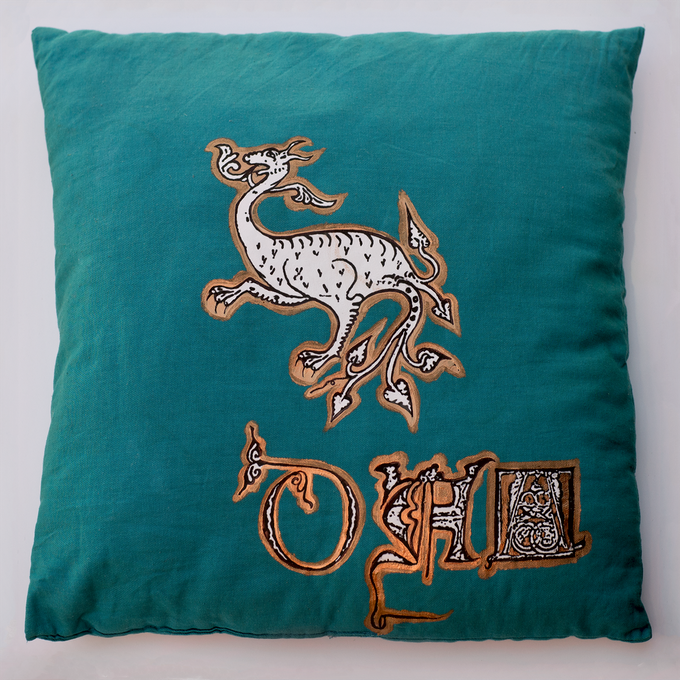 A Sample Pillow built from medieval manuscript visuals