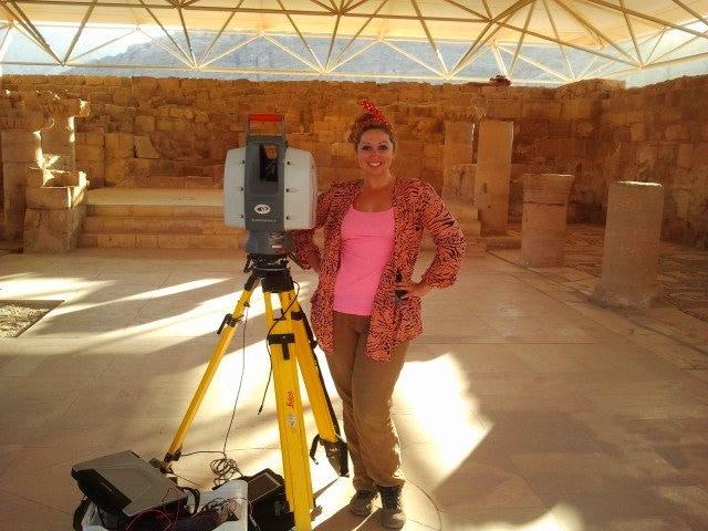 Ashley between laser scans at the Byzantine Mosaic Church at Petra in Jordan.