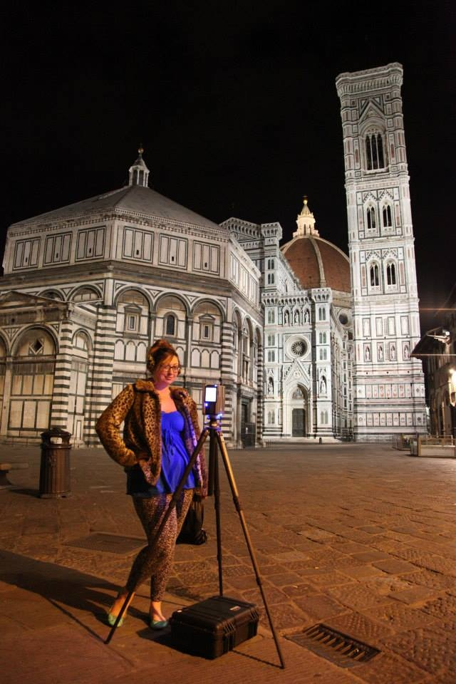 Ashley with the LiDAR scanner preparing to image the exterior of the Baptistery of St. John in Florence, Italy.