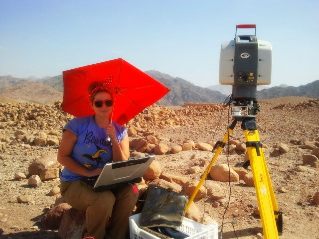 Ashley laser scanning the local Roman period aqueduct system of Faynan in southern Jordan.