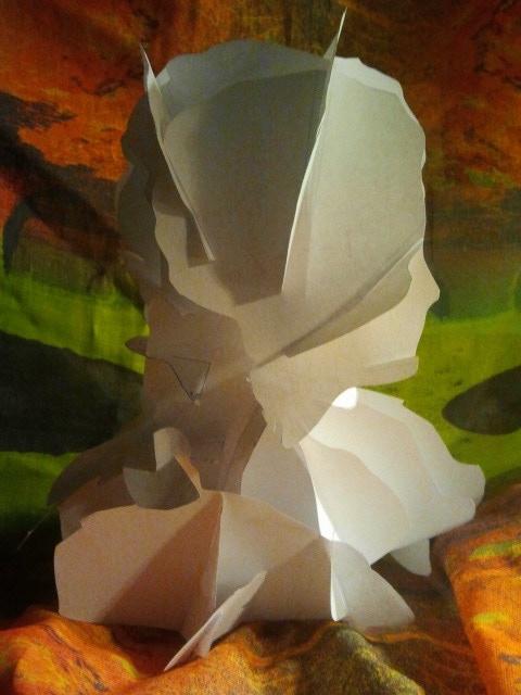 A Paper Sculpture built from a 3D model of a fountain bust at Asgard.