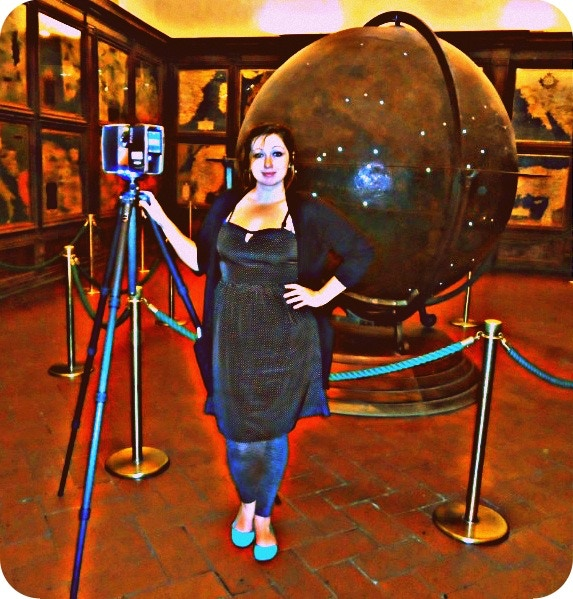 Ashley after laser scanning the giant Mappus Mundi globe and Hall of Geographical Maps in Palazzo Vecchio in Florence.