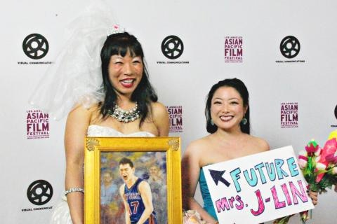 Me and my bridesmaid at the LA premiere of LINSANITY.