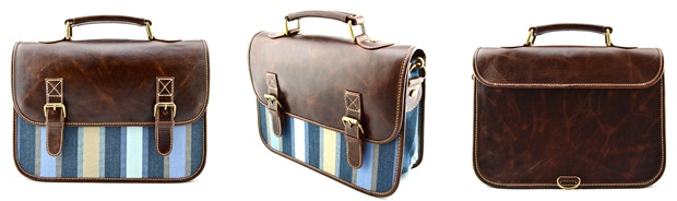 The Classic: Chocolate Leather, Striped Blue; $130