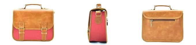 The Mini: Tobacco Leather, Salmon Red; $95