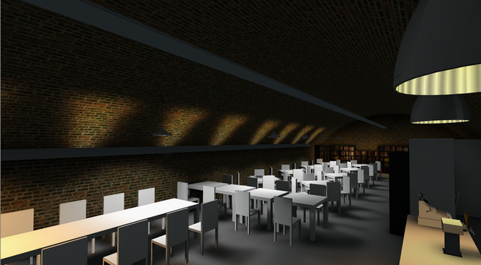 A rendering of the interior of Draughts
