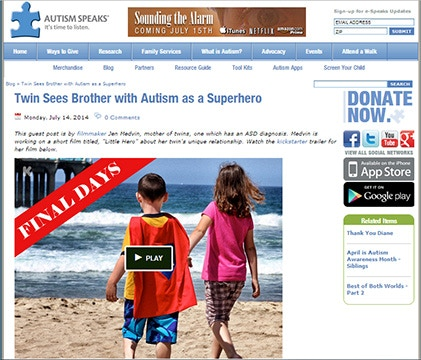 Autism Speaks Blog Article - Twin Sees Brother with Autism as a Superhero