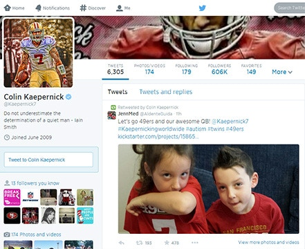 We've had many awesome people share the Little Hero Kickstarter link. Including the amazing 49ers quarterback, Colin Kaepernick! (As you can see, the Medvins are HUGE 49ers' fans.) Thank you Colin!