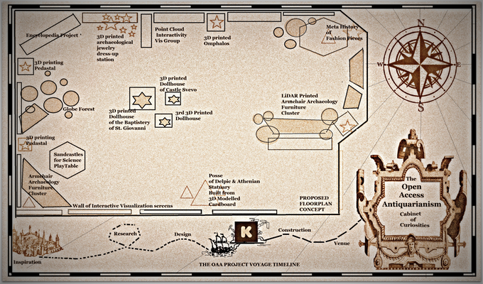 The Project Timeline and Cabinet of Curiosities Floorplan (pirate style, of course).