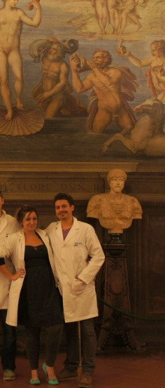 Ashley and Vid (with lab coats!) after imaging the Room of the Elements in Palazzo Vecchio in Florence.