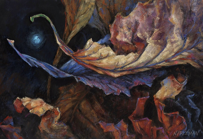 """""""Last Flight"""" 12 X 16 original pastel painting.  The sources for """"Last Flight"""" were three photographs as well as the real dried leaves."""
