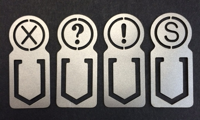 Titanium typewriter key themed page marks