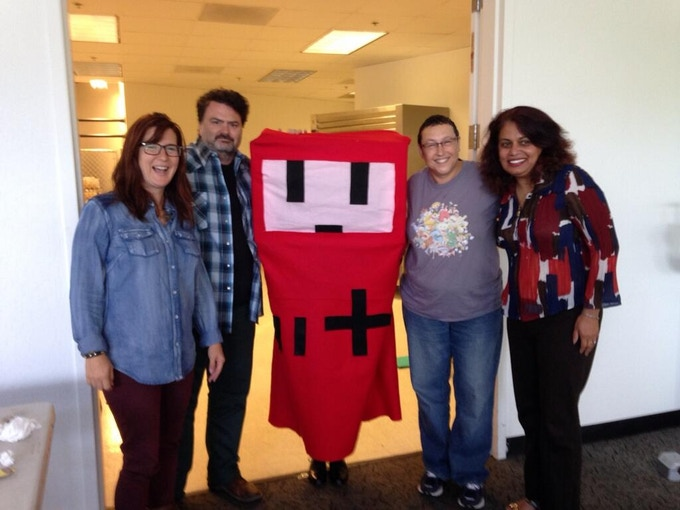 Awesome judges from left: Kellee Santiago, Tim Schafer, R.E.D, the GMG mascot, Tracy Fullerton, Shazia Makhdumi