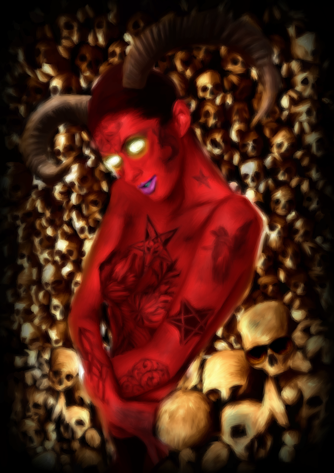 Demon Pin-Up Girl - By Lewis Terry (Just one of the prints you'll receive in our rewards)