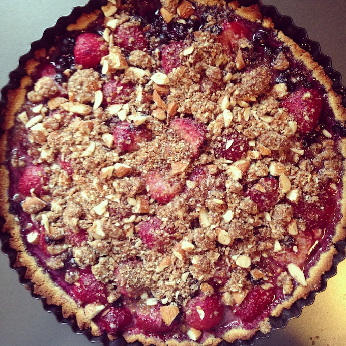 [sample menu item: local berry tart with toasted almond crumble]
