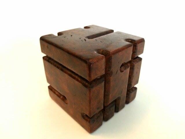 Hybrid Cubic Maze Puzzle In Walnut Burl.