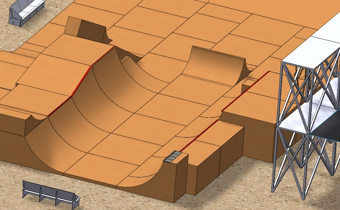 Close-up of mini ramp section