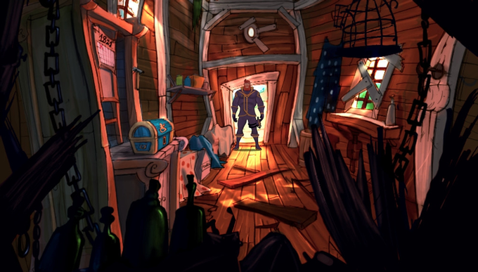 A scene from Kaptain Brawe: A Brawe New World, the original game.