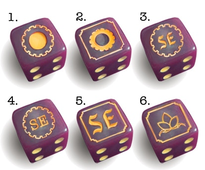 purple with gold pips