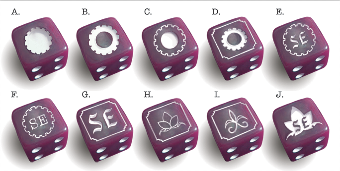 purple with white pips, including some designs we nixed