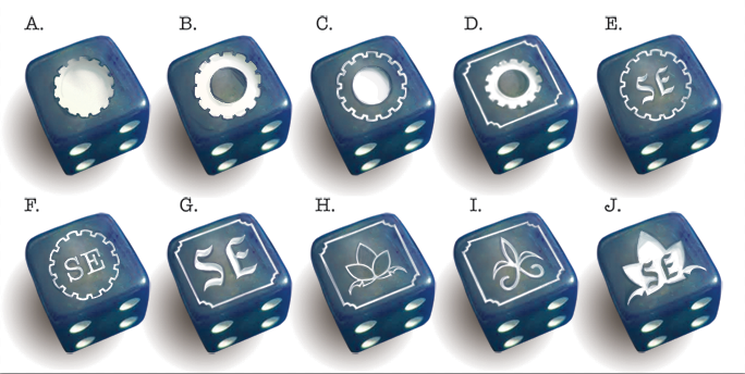 blue with white pips, including some designs we nixed