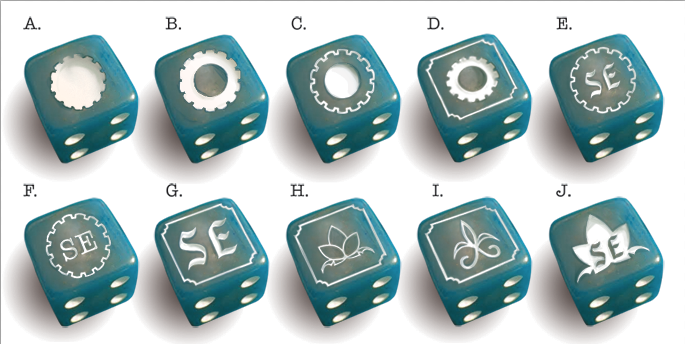 turquoise with white pips, including some designs we nixed