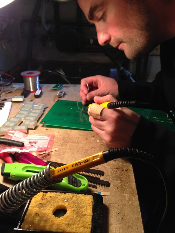 Me Soldering the first prototype!