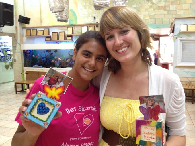 Tammy and a girl from the home in Netanya, Israel.