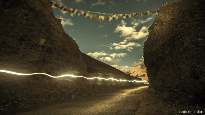 Timelapse during a 135-mile race through the Himalayas. Ladakh, India.